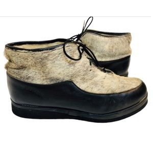 Vintage Seal Fur Leather & Shearling Booties Sz 8